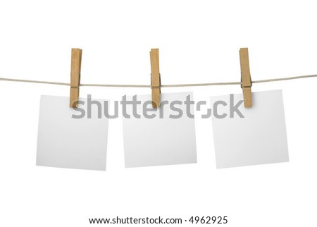 Memos on a leash. Isolated on white background.