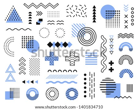 Memphis design elements. Retro funky graphic, 90s trends designs and vintage geometric print illustration element. Constructivism memphis  isolated symbols collection