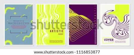 Memphis Style Poster Set. Bright Color Background with Futuristic 3D Elements. Flat style Abstract Vector Design ideal for Banner, Web, Promotion, Ad, Placard and Billboard #1116853877