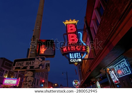 MEMPHIS, TENNESSEE, May 11, 2015 : City neon lights on Beale Street. Blues clubs and restaurants that line Beale Street are major tourist attractions in Memphis.