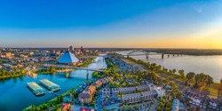 Memphis Tennessee TN Downtown Drone Skyline Aerial.