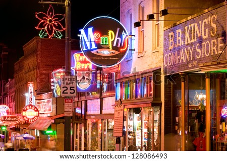MEMPHIS, USA - NOVEMBER 25: Neon signs of famous blues clubs on historical Beale street on November 25, 2008. Beale street is a major tourist attraction and a place for blues festivals and concerts