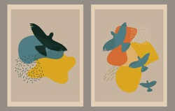 Memphis wall art set. Various flying birds, abstract forms. Doodle style. Contemporary modern trendy illustrations. Continuous line, minimalistic elegant concept.