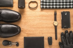 Men accessories on a wooden background