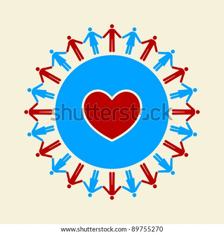 Men And Women Holding Hands Around A Heart Inside A Circle - Bitmap Illustration