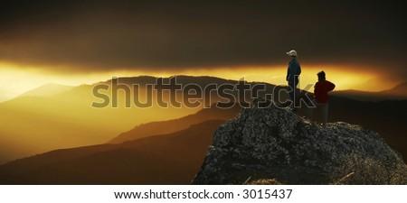 Men and women overview sunset landscape