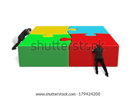 Men assembling puzzles in white background