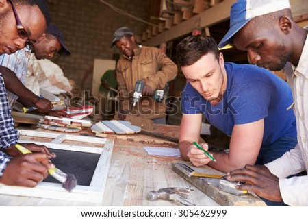 Men at work in a carpentry workshop, South Africa, close up