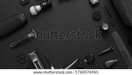 Men beauty and health concept. Various shaving and bauty care accessories placed on black background Foto d'archivio ©