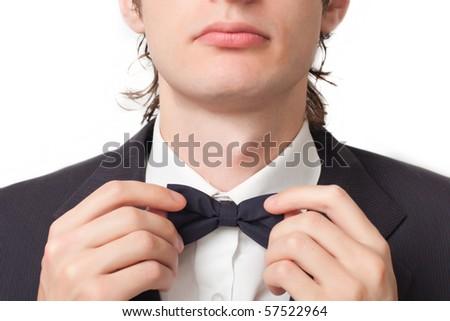Men black necktie on a white background