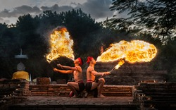 Men breathing fire, amazing light show in thiland