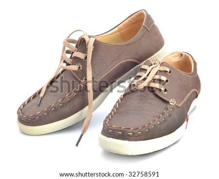 Men casual leather shoes in a white background