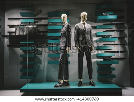 Men clothing in a luxury store(window display view)
