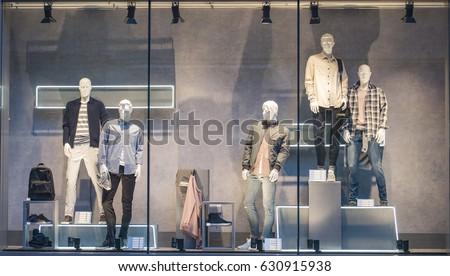 Men clothing in a showcase in London.