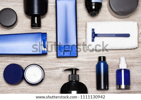 Men cosmetics must-haves. Essential male grooming products flat lay