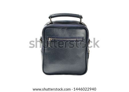men dark blue leather handbag in the studio white isolated background #1446022940