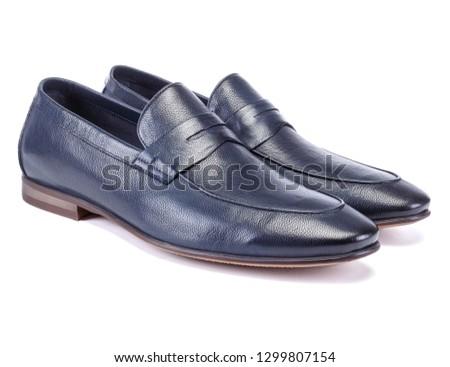 Men dark blue Loafer Shoe on white #1299807154