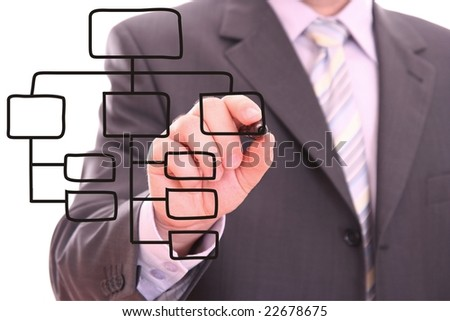Men drawing a black process diagram