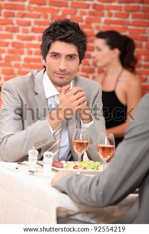 Men eating in a restaurant
