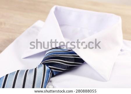 Men elegance clothes on wooden table, closeup #280888055