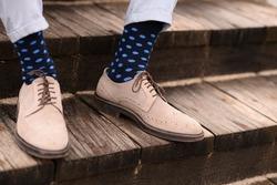 men elegant shoes with blue socks