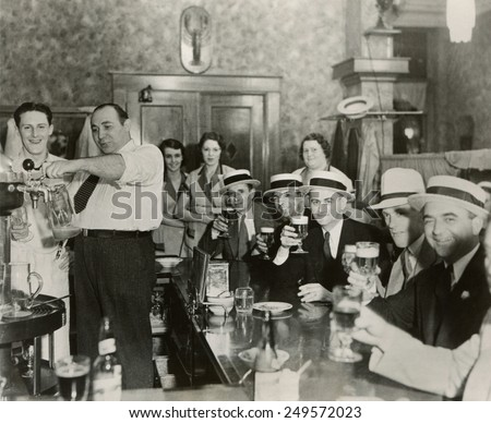 Men enjoying 3.2% beer on the 4th of July in Bangor, Maine, 1933. Stock photo ©