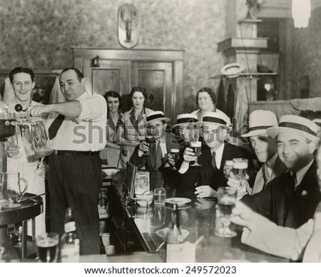 Men enjoying 3.2% beer on the 4th of July in Bangor, Maine, 1933.