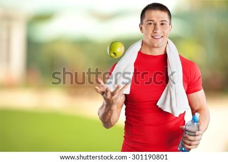 Men, Exercising, Healthy Lifestyle.