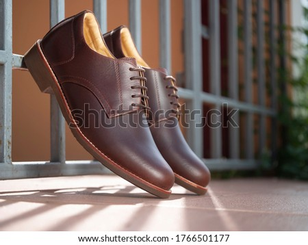 Men fashion brown shoes leather on the floor. Photo stock ©