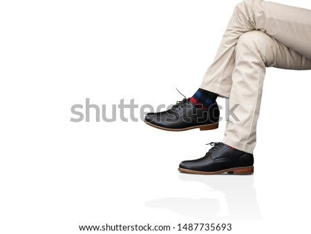 Men fashion. The male wears long pants and leather black shoes for man collection clothing isolated on a white background. Copy space
