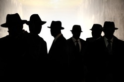 Men Fedora Hats silhouette. Security, Privacy, Surveillance Concept.