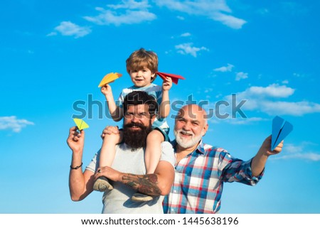 Men generation. Generation of people and stages of growing up. Father and son enjoying outdoor. Father and son with grandfather - happy loving family