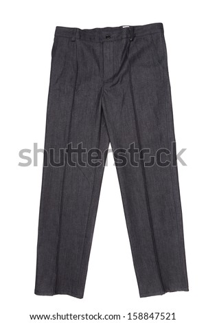 Men gray pants.  Isolated on a white background