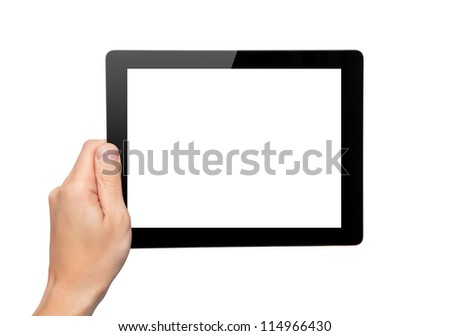 Men hand hold a tablet touch pad computer gadget with isolated screen