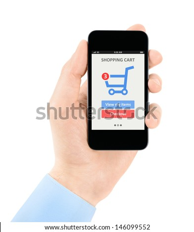 Men hand holding modern mobile phone with online shopping application on a screen. Isolated on white background.