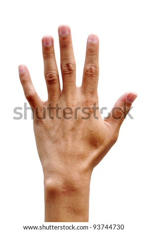 men hand making sign Isolated on white background