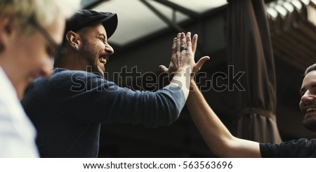 Men Hands High Five Meeting Greeting #563563696
