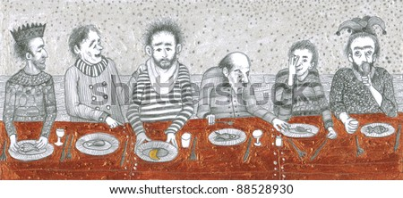 Men having lunch in front of the table.