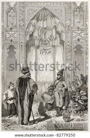 Men in a courtyard in Teheran, old illustration. Created by Laurens, published on Le Tour du Monde, Paris, 1860