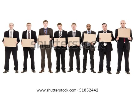 Men in a row holding signs isolated on white background