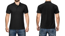 men in blank black polo shirt, front and back view, isolated white background. Design polo shirt, template and mockup for print.