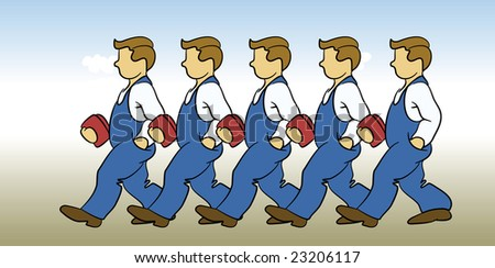 Men in blue work clothes holding red lunch boxes