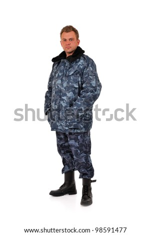 men in camouflage clothing on a white background