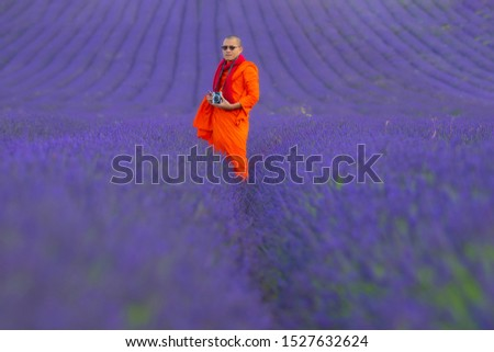 Men in lavender fields, taking pictures and walking