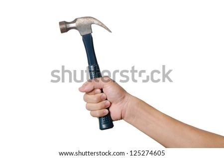 Men is holding a hammer isolated on white background