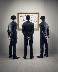 men looking question mark, conceptual photo