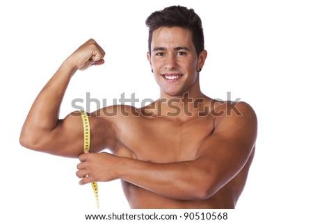 Men measuring his biceps