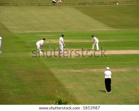 Men playing cricket