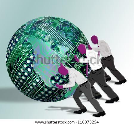 Men Pushing Circuit Board Ball.