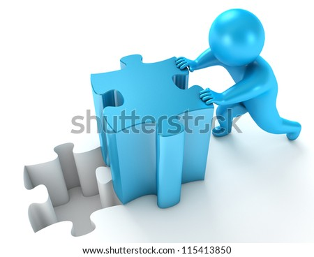 Men pushing puzzle piece. Isolated on white background. 3d render